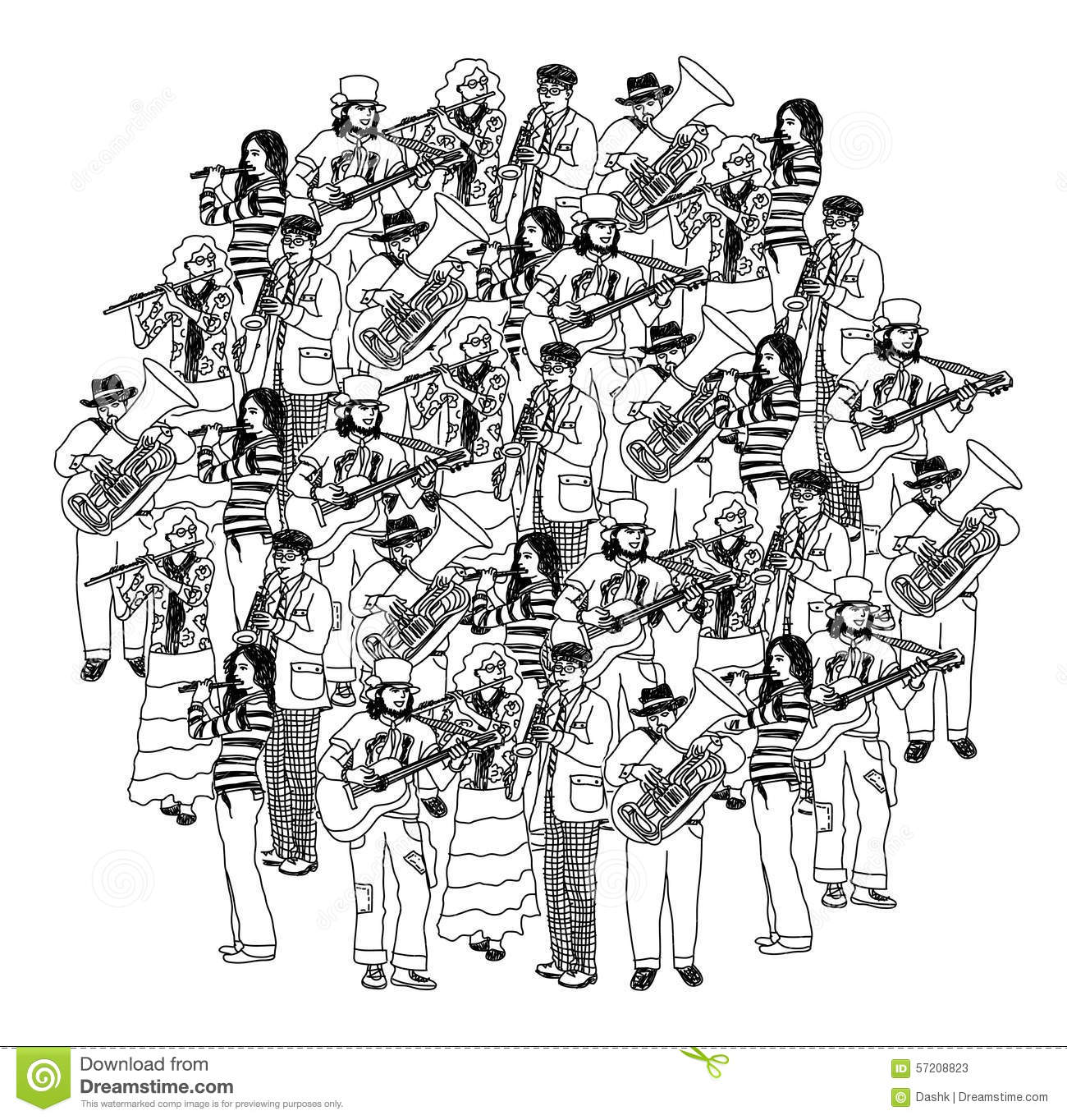 Drawing Lines Band : Big group musicians band orchestra monochrome stock vector