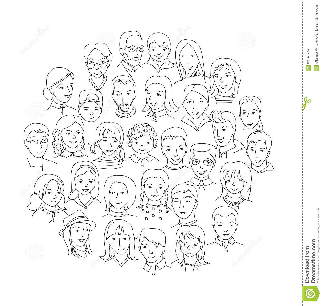 Big Group Of People Round Concept Stock Vector ...