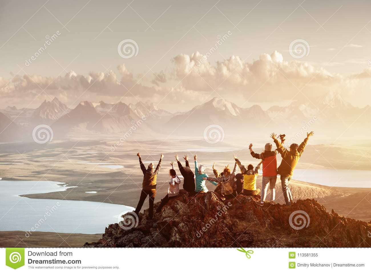 Big group of people success mountain top