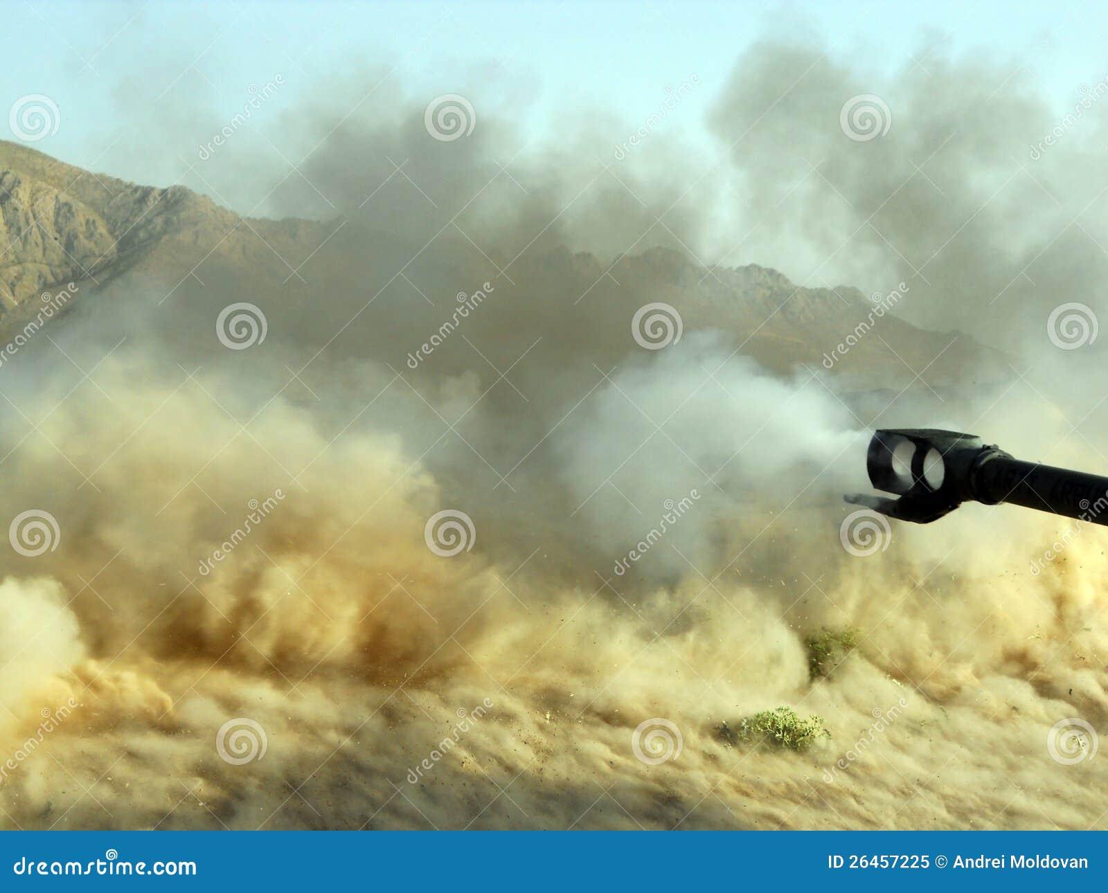 Download Big Gun Blast In Afghanistan Stock Image - Image of desert, hills: 26457225