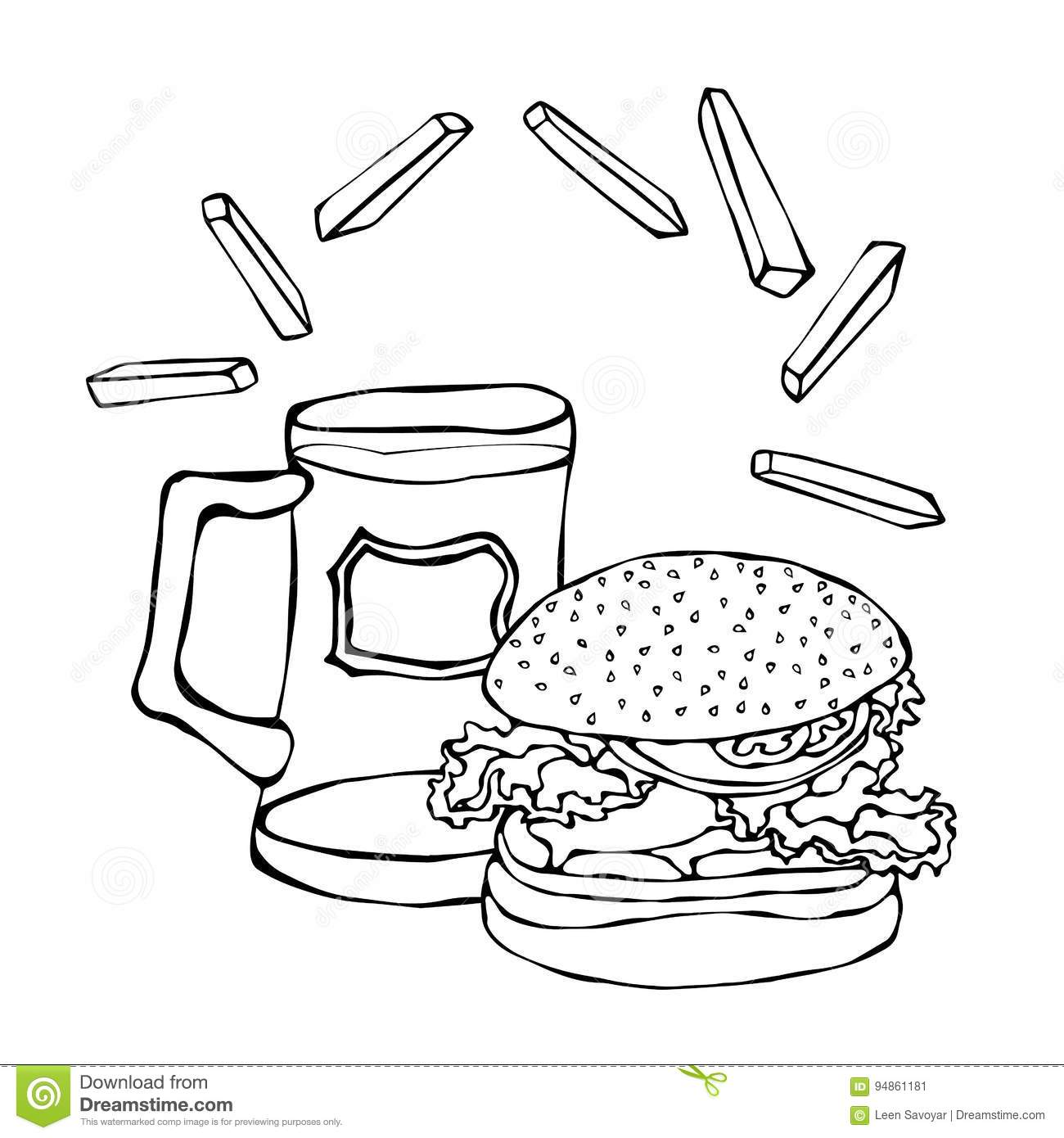 Big Hamburger Or Cheeseburger Beer Mug Or Pint And Fried Potato Burger Logo Isolated On A White Background Realistic Stock Vector Illustration Of Icon Fresh 94861181