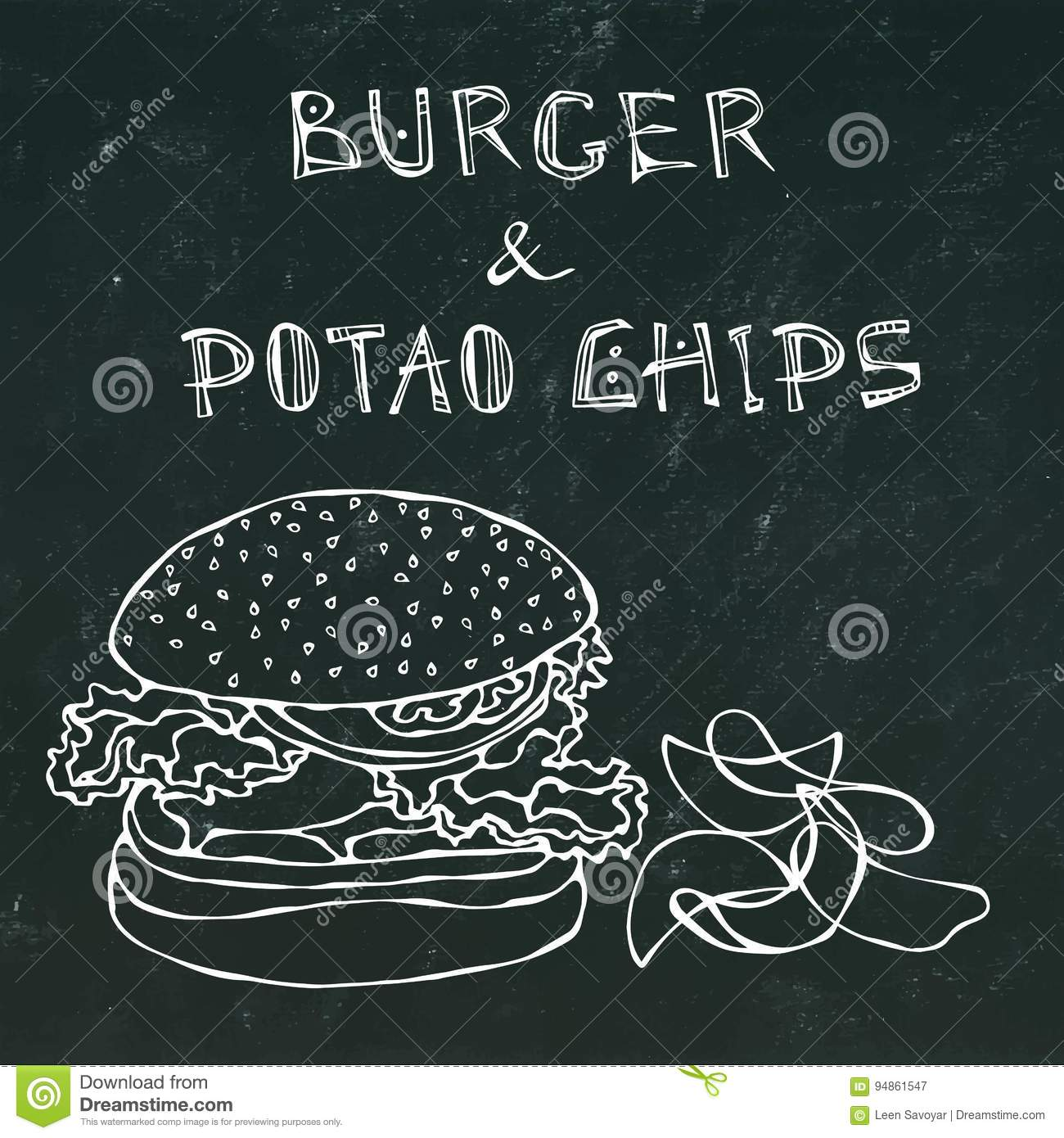 Big Hamburger Or Cheeseburger Beer Mug Or Pint And Potato Chips Burger Logo Isolated On A Black Chalkboard Background Stock Vector Illustration Of Fast Board 94861547