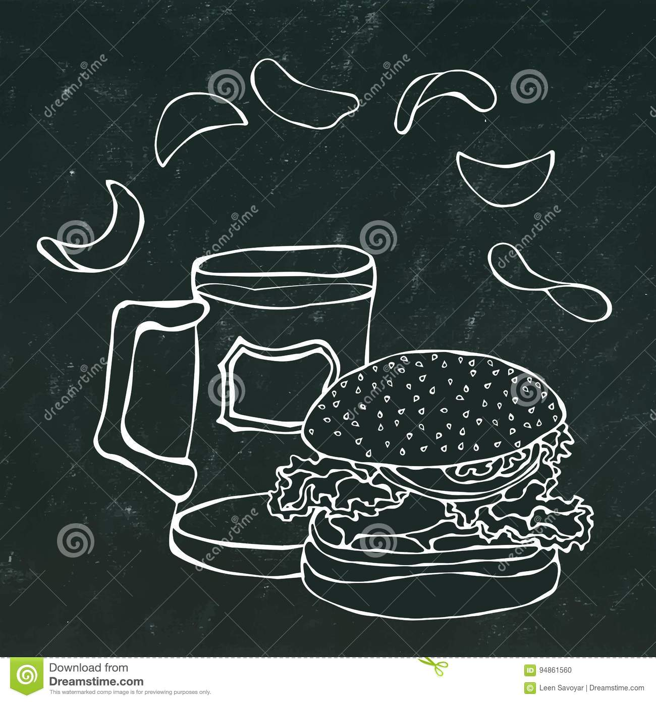 Big Hamburger or Cheeseburger, Beer Mug or Pint and Potato Chips. Burger Logo. Isolated On a White Background. Realistic