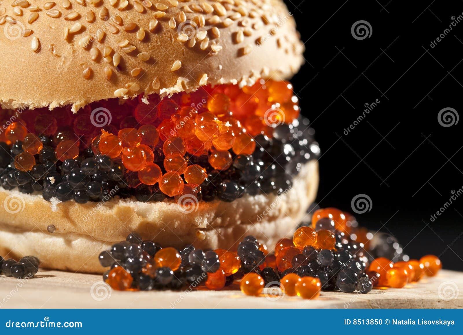 Big Hamburger With Red And Black Caviar Stock Photo Image - Black hamburger
