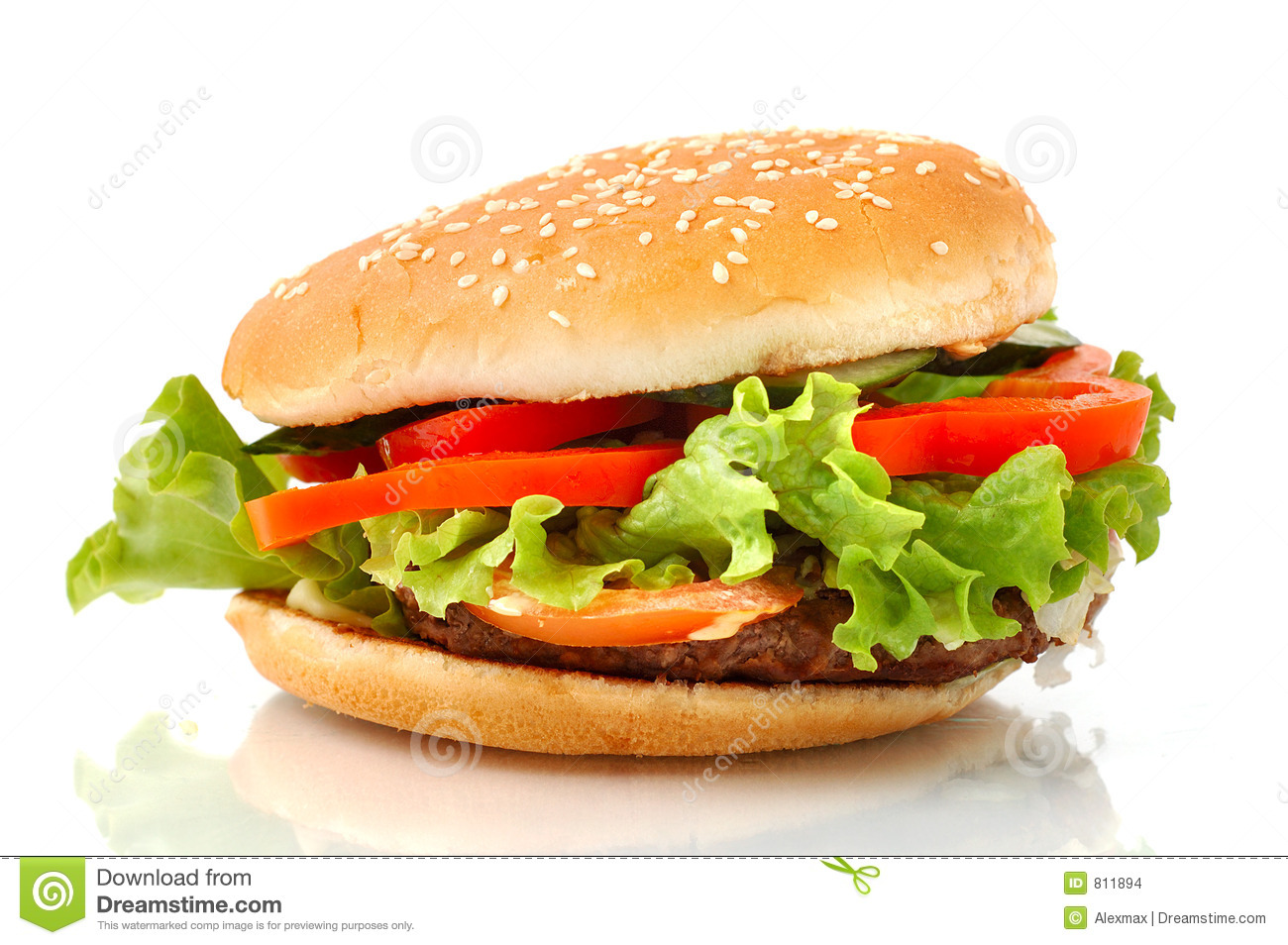 Big hamburger side view isolated