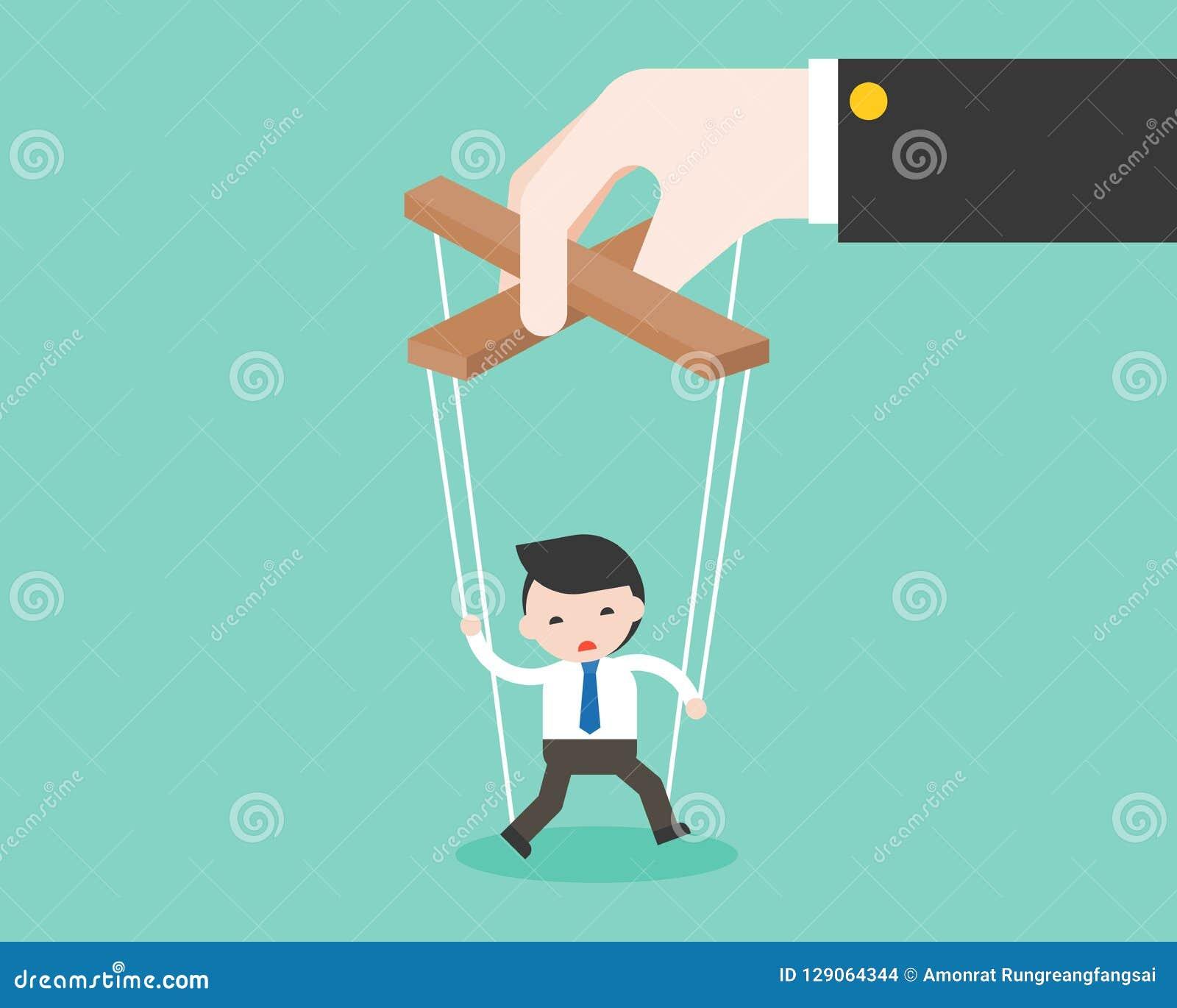 Big hand manipulate small puppet of businessman