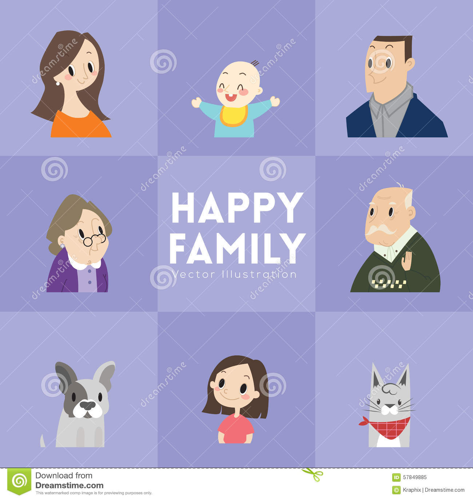 Big Happy Family Cartoon Illustration Illustration 57849885 Megapixl