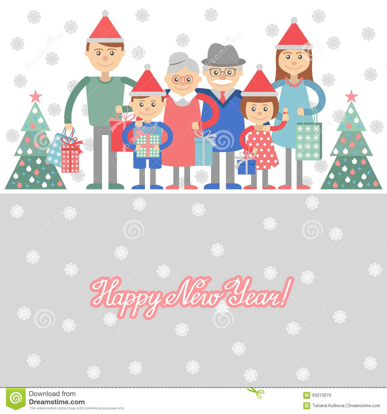 Big Happy Family With Christmas Gifts In Hands. Vector Illustration ...