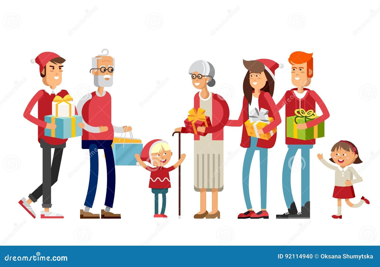 759b074521feb Big Happy Family In Christmas Hats. Stock Vector - Illustration of ...
