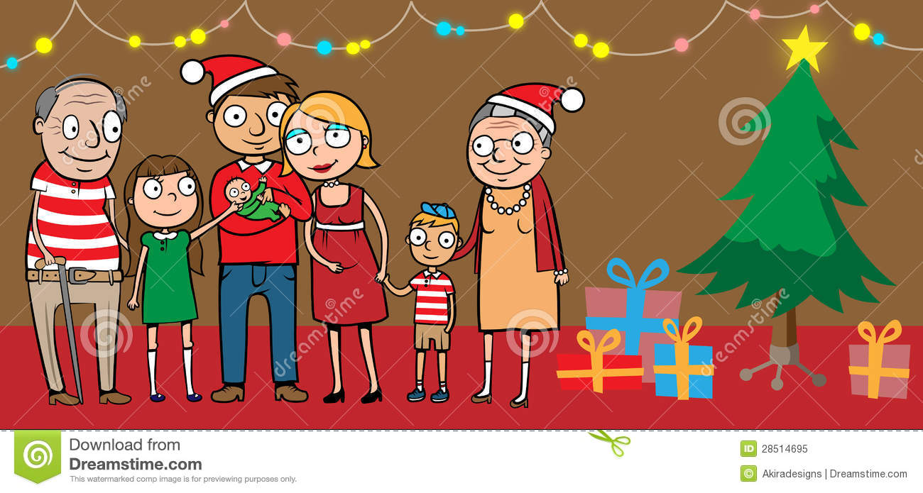 Big Happy Family By Christmas Tree Stock Vector - Image ...