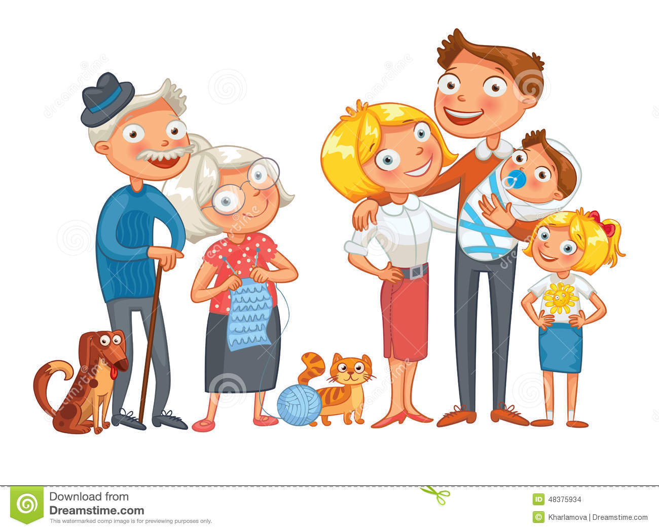3 Cartoon Characters Always Together : Big happy family stock vector image of grandfather comic