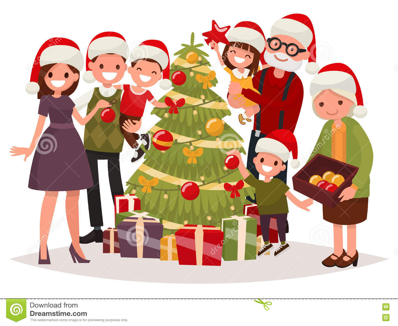 Big Happy Family Decorates The Christmas Tree Vector Illustration Of A Flat Design Stock Illustration Illustration Of Card Home 78862868