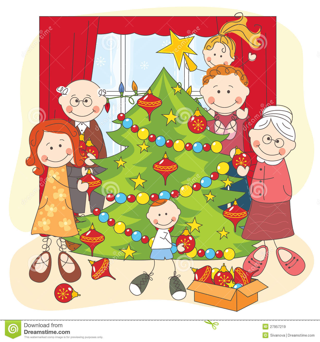 Download The Big Happy Family Dress Up A Christmas Tree Stock Vector