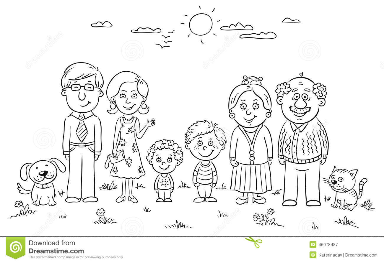 Big Happy Family Stock Vector Image Of View Black Front