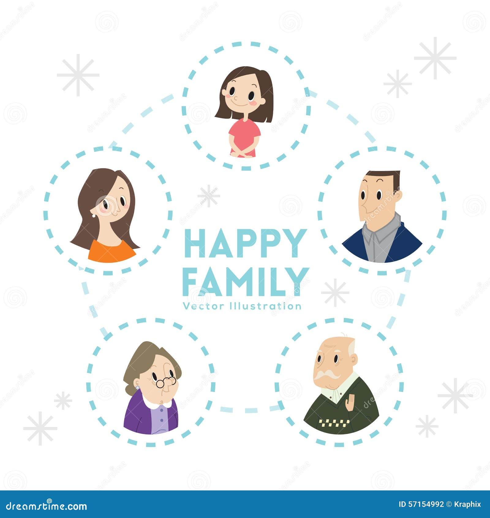 Big Happy Family Portrait Cartoon Illustration Stock Vector - Image ...