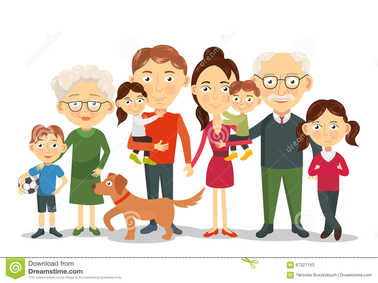 Big and happy family portrait with children, parents, grandparents vector