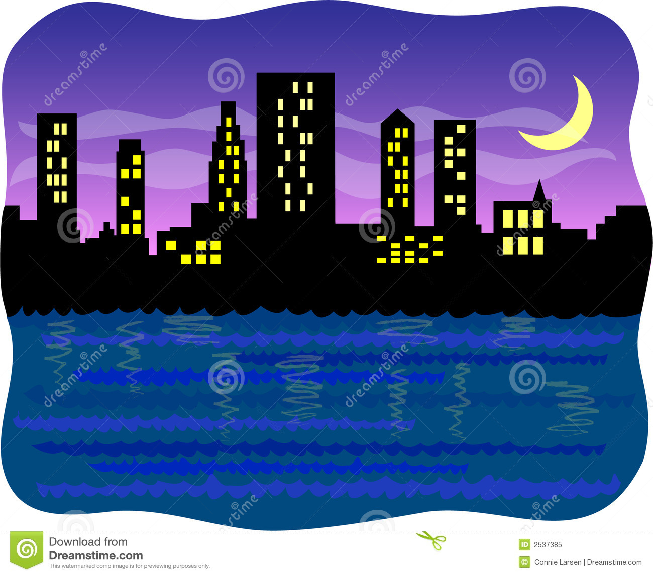 big harbor city at night  eps stock vector image 2537385 free clipart ocean animals free ocean clip art pictures