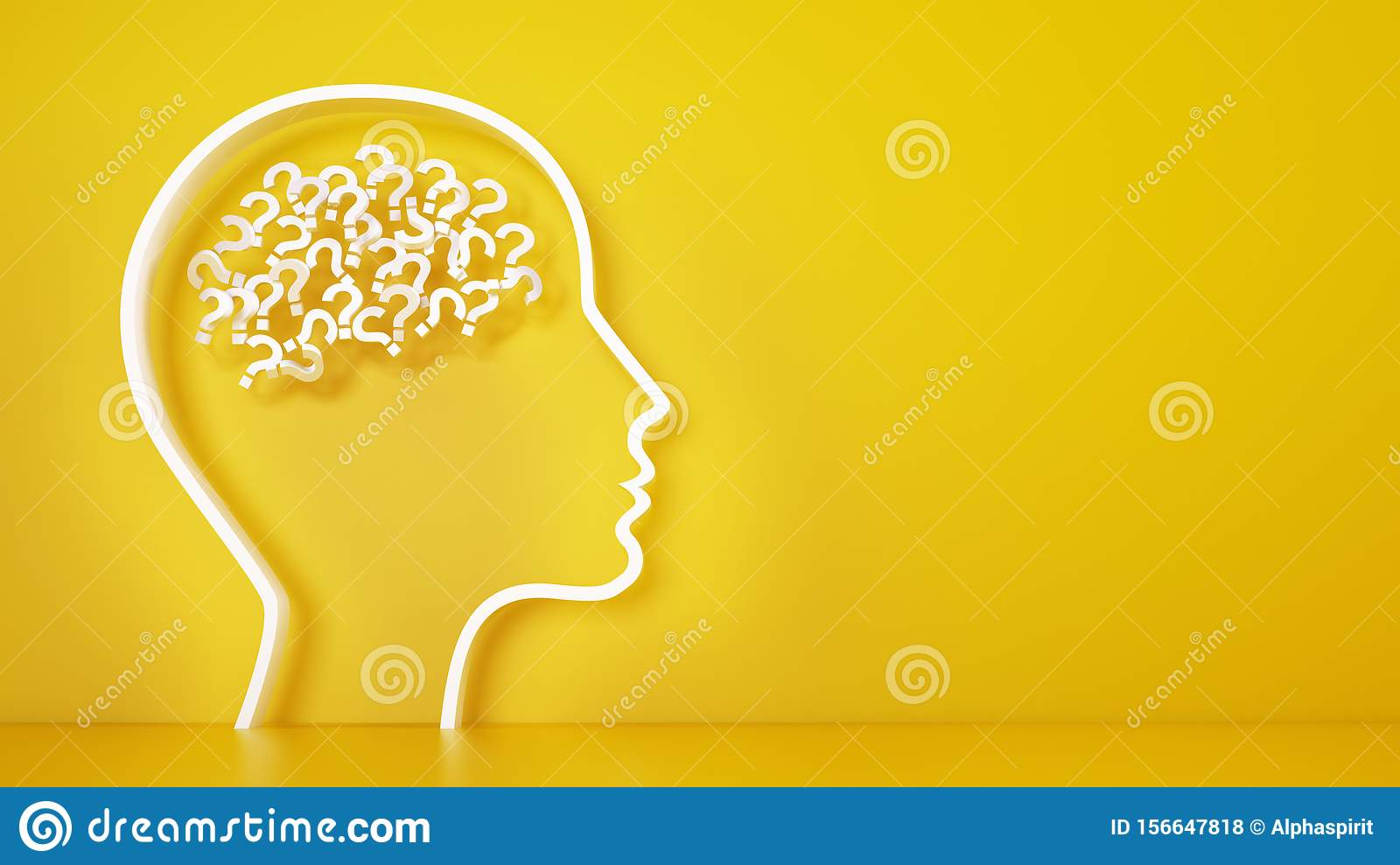 Big head with question marks inside brain on a yellow background. 3D Rendering
