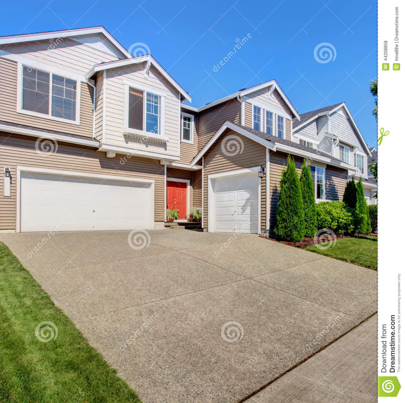 Big house exterior with garage and driveway stock photo for House with big garage