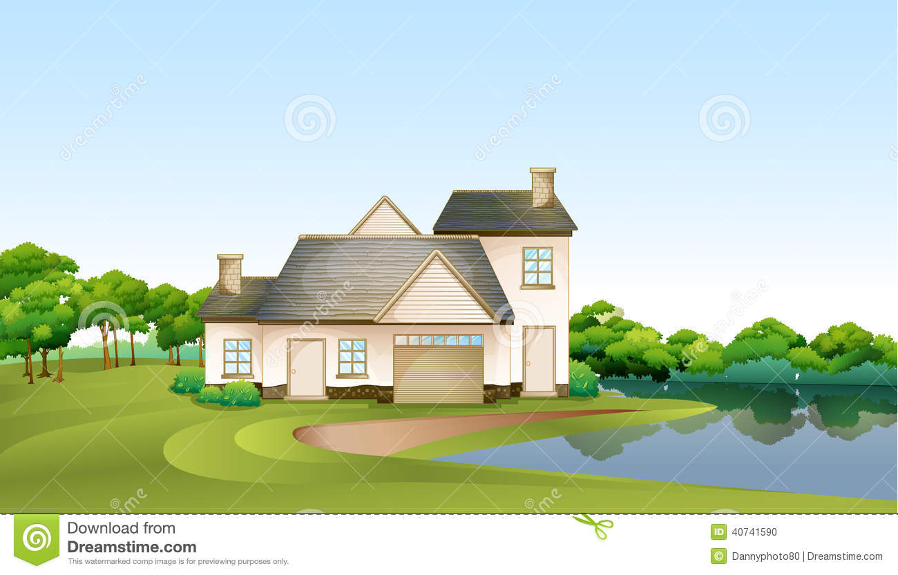 A Big House At The Forest Near The River Stock Vector Image - Big cartoon house