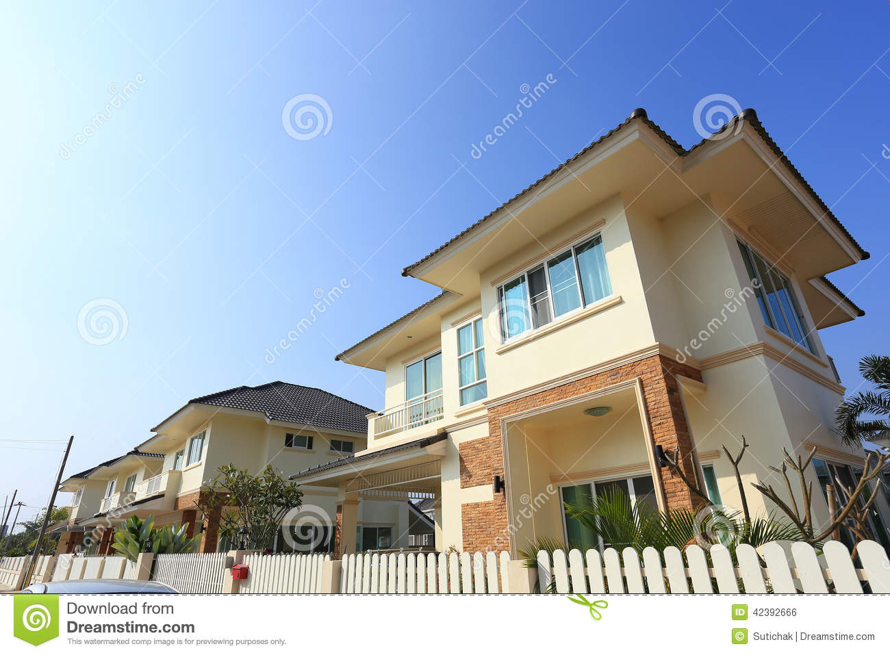 Big house modern style stock photo image 42392666 for Blue modern house