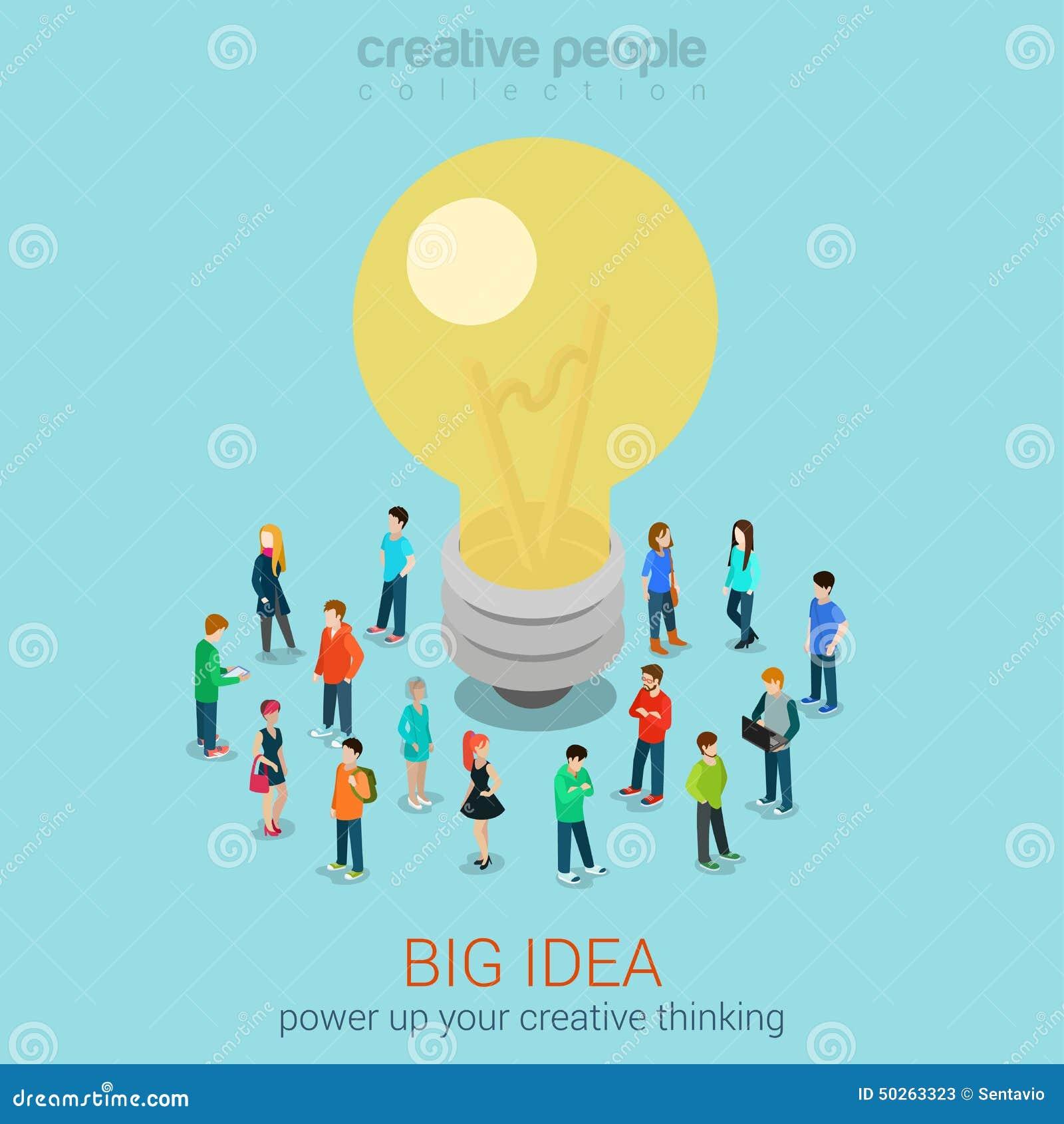 big idea brainstorming flat 3d web isometric infographic