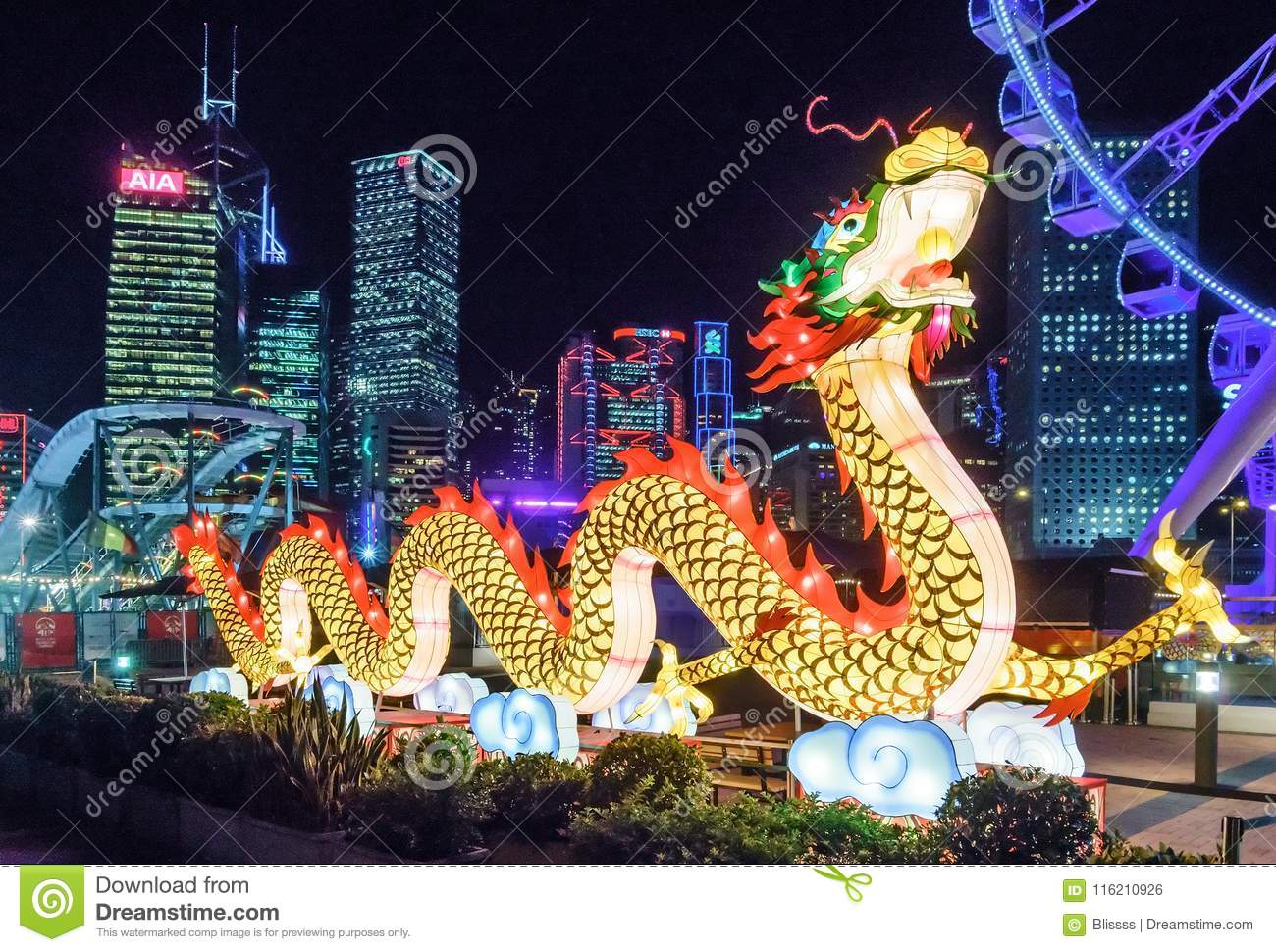 Big Illuminated Chinese Dragon Festive Decoration At AIA Great
