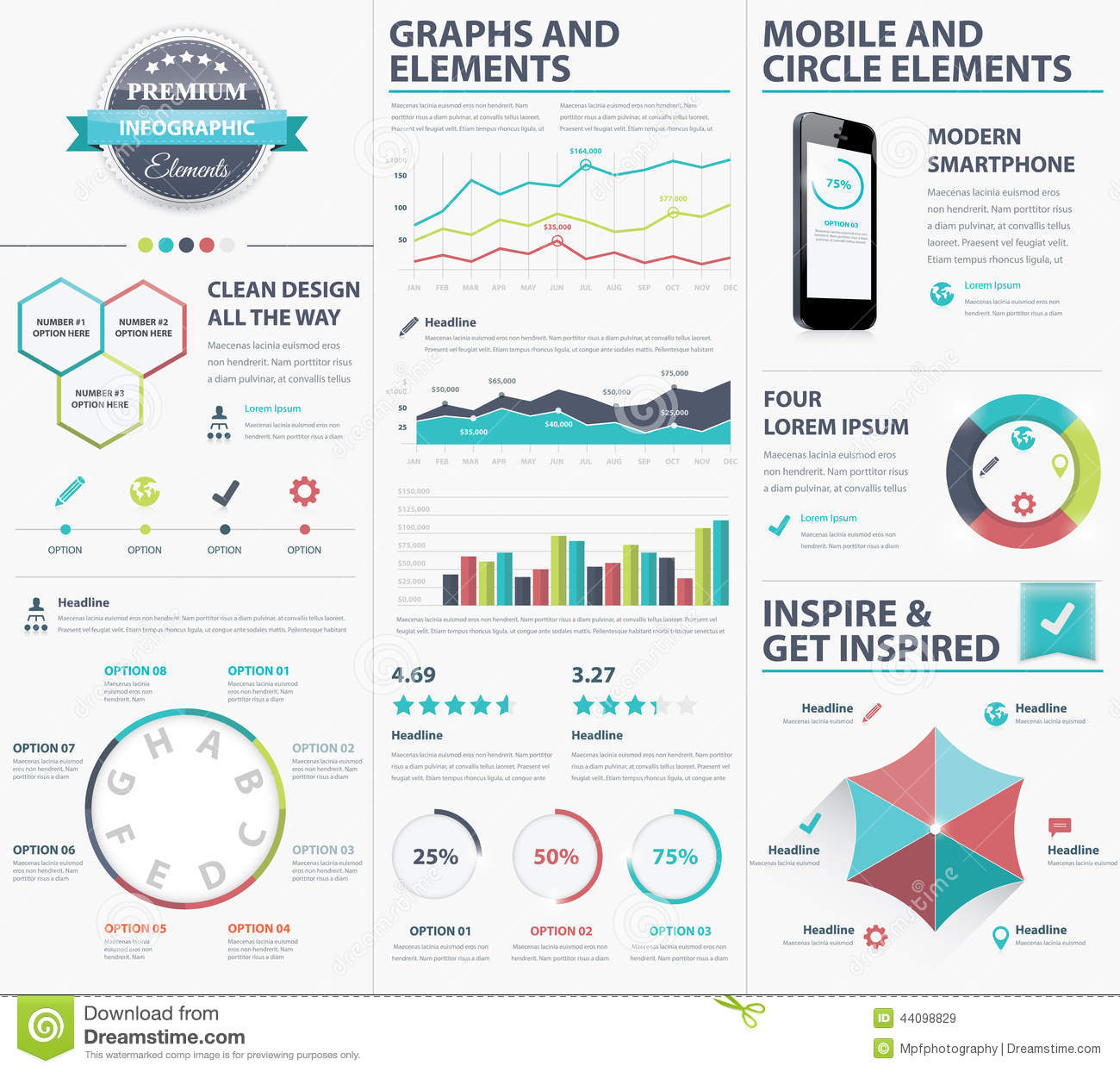 Big Infographic Vector Elements Collection To Visualize Data Stock ...