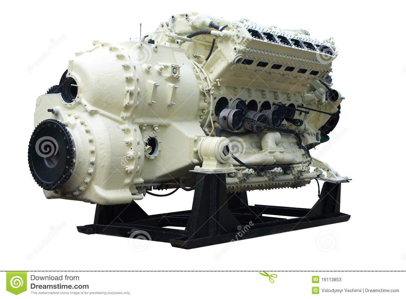 Big internal combustion engine. Isolated on white, with clipping path.