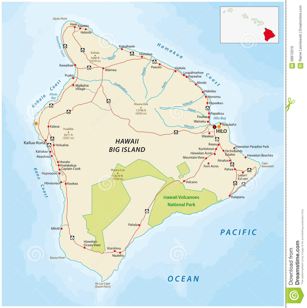 Big Island Hawaii Road Map Stock Illustration Illustration Of