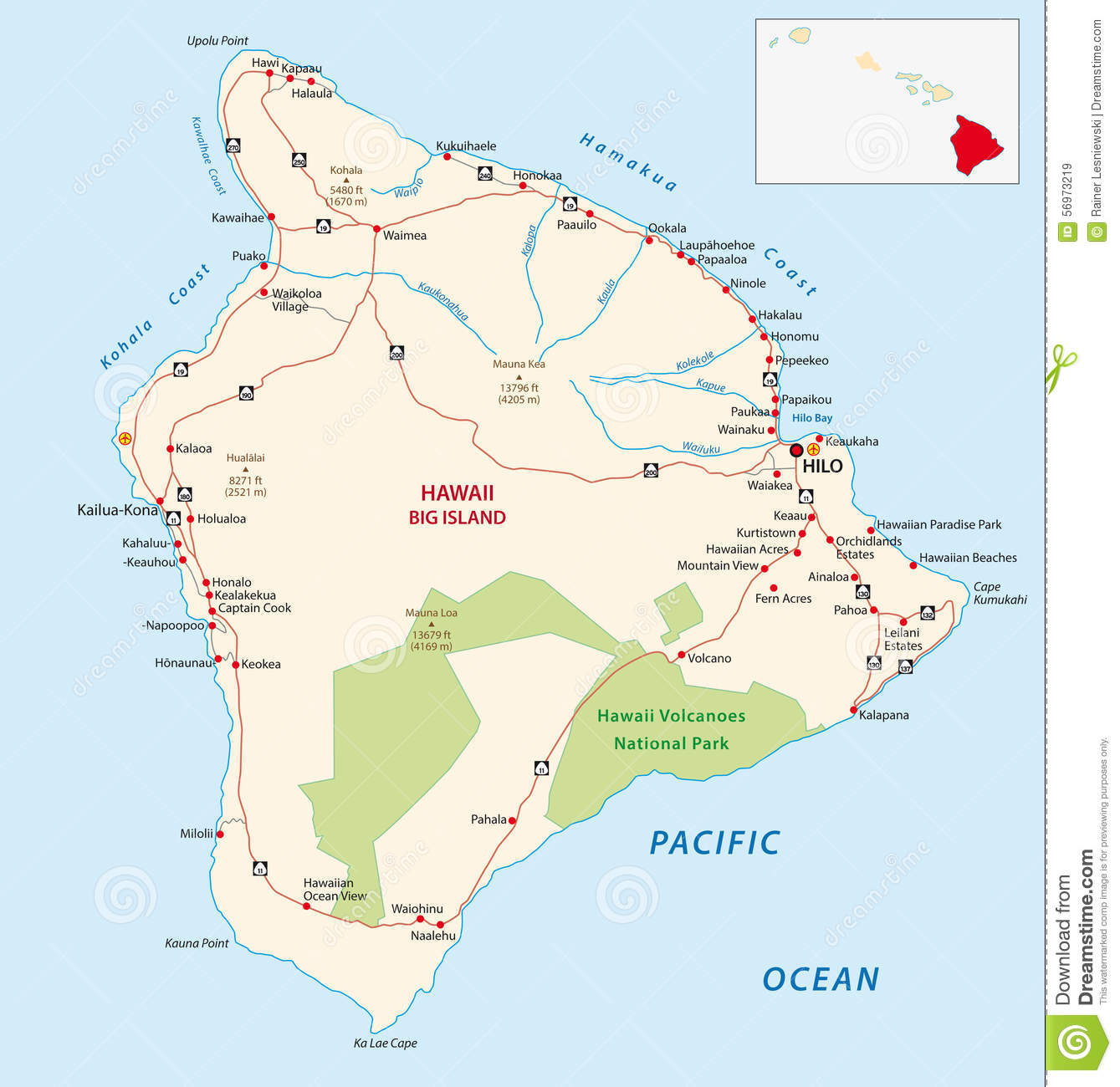 image about Printable Maps of Hawaii named Huge island highway map inventory case in point. Example of