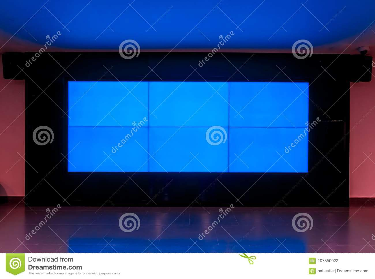 Big LED Television blue monitor texture in the room