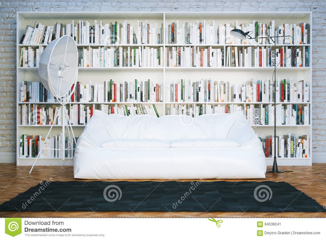 Big Library Shelves With Many Books In White Living Room Stock Image ...