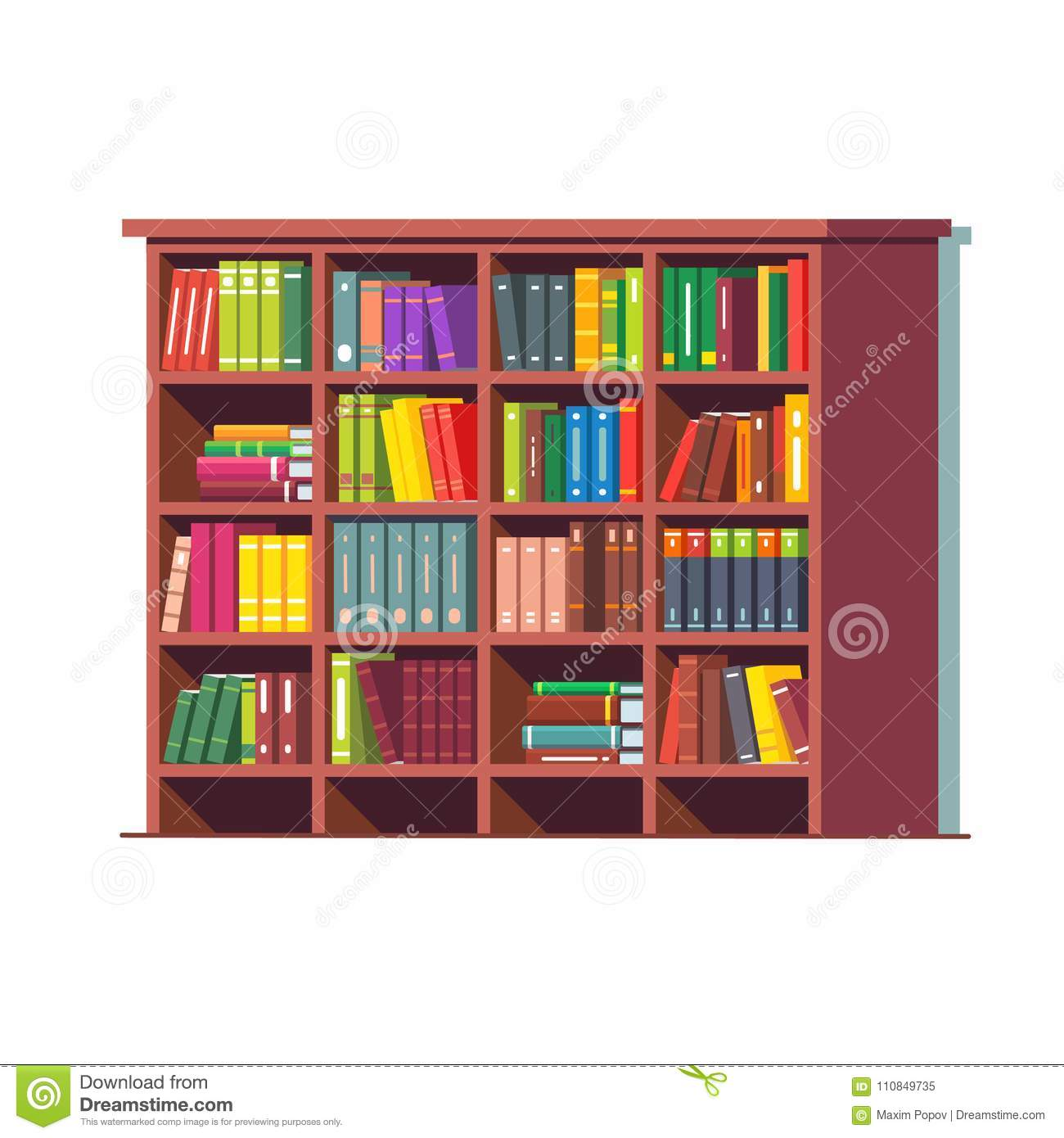 Big library wooden bookcase full of books