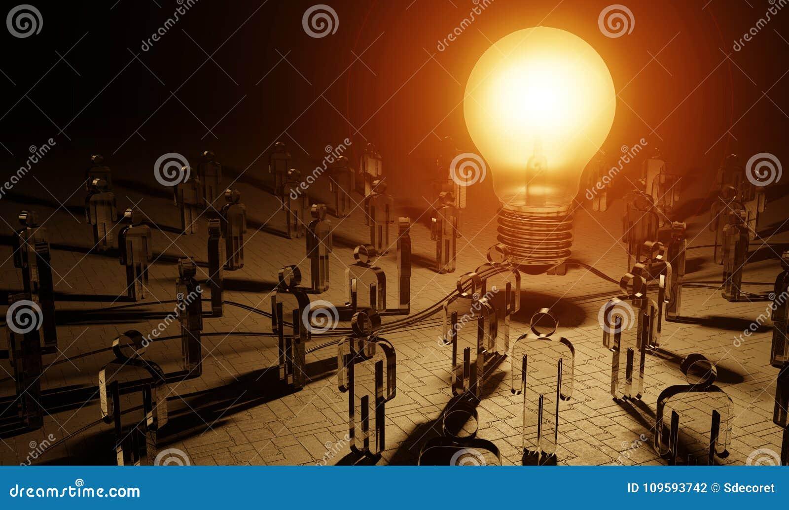 Big lightbulb illuminating a group of people 3D rendering