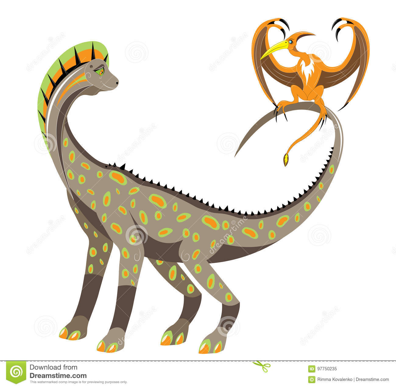 Download Big And Little Winged Dinosaur Stock Vector