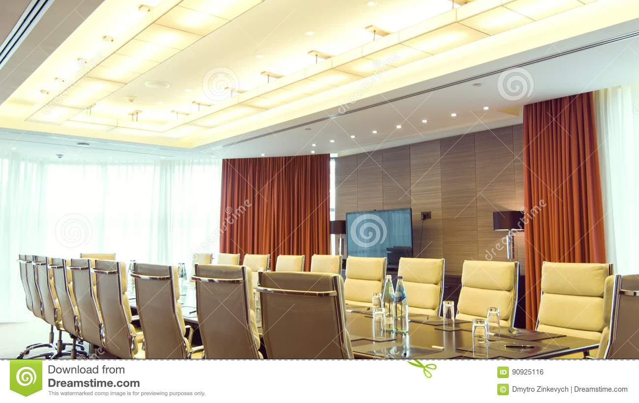 Big Long Table Standing In The Conference Room Stock Footage Video - Standing conference room table