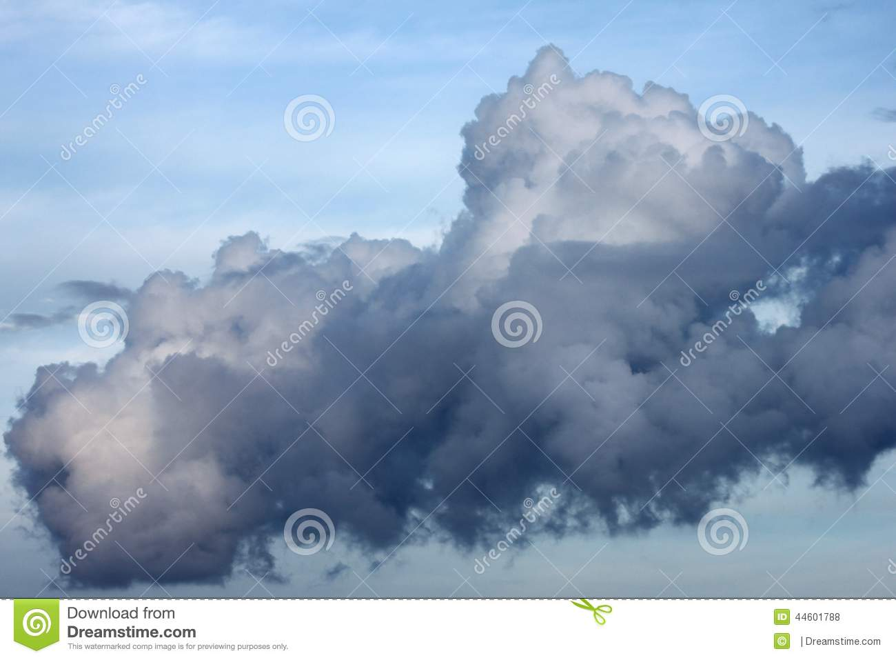 A big low dark beautiful thunderstorm cloud closeup