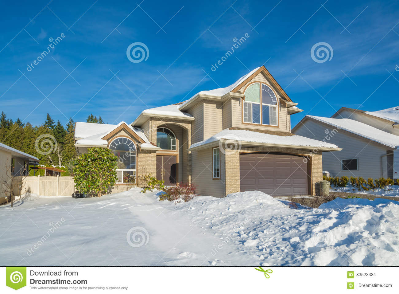 Big Luxury House With Front Yard In Snow Stock Photo Image