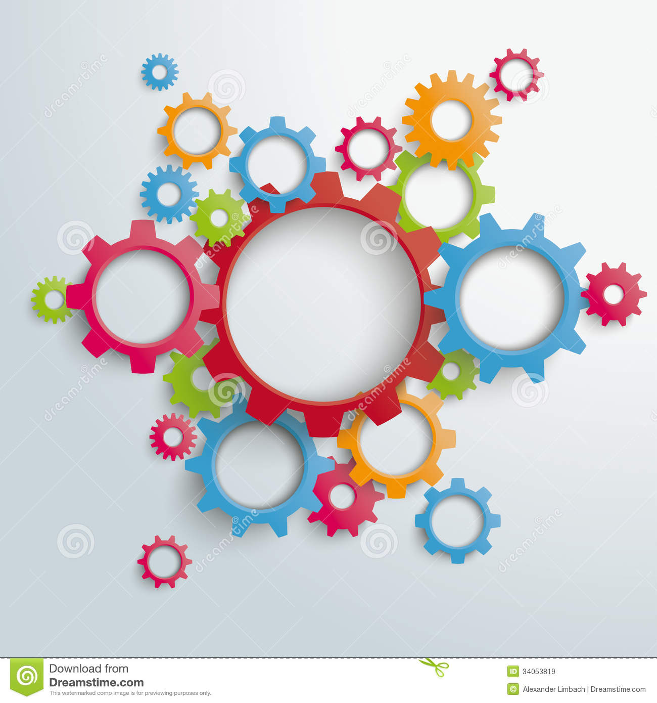 Infographic design on the grey background eps 10 vector file - Big Machine Colored Gears Piad Royalty Free Stock Images