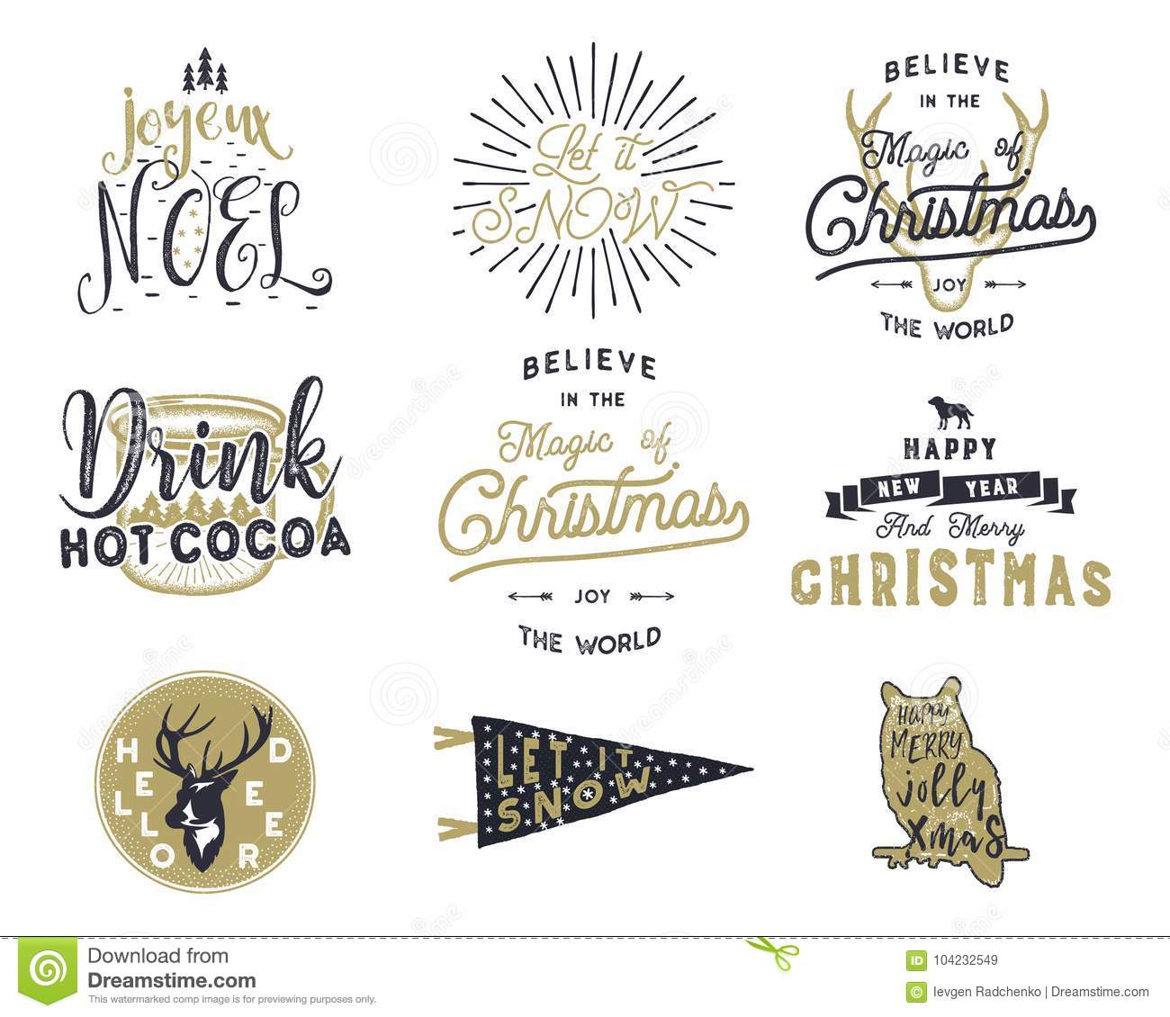 Big Merry Christmas Typography Quotes Wishes Bundle Sunbursts