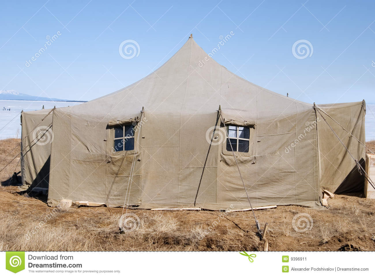 Large army canvas set at winter Baikal & Big military tent stock image. Image of canvas military - 9396911