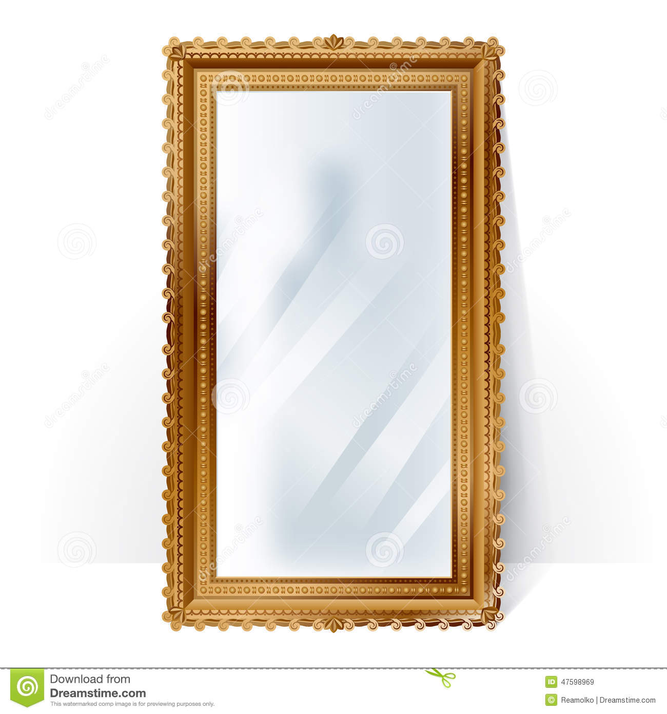Big Mirror In Vintage Frame, Blurry Reflection. Stock ...
