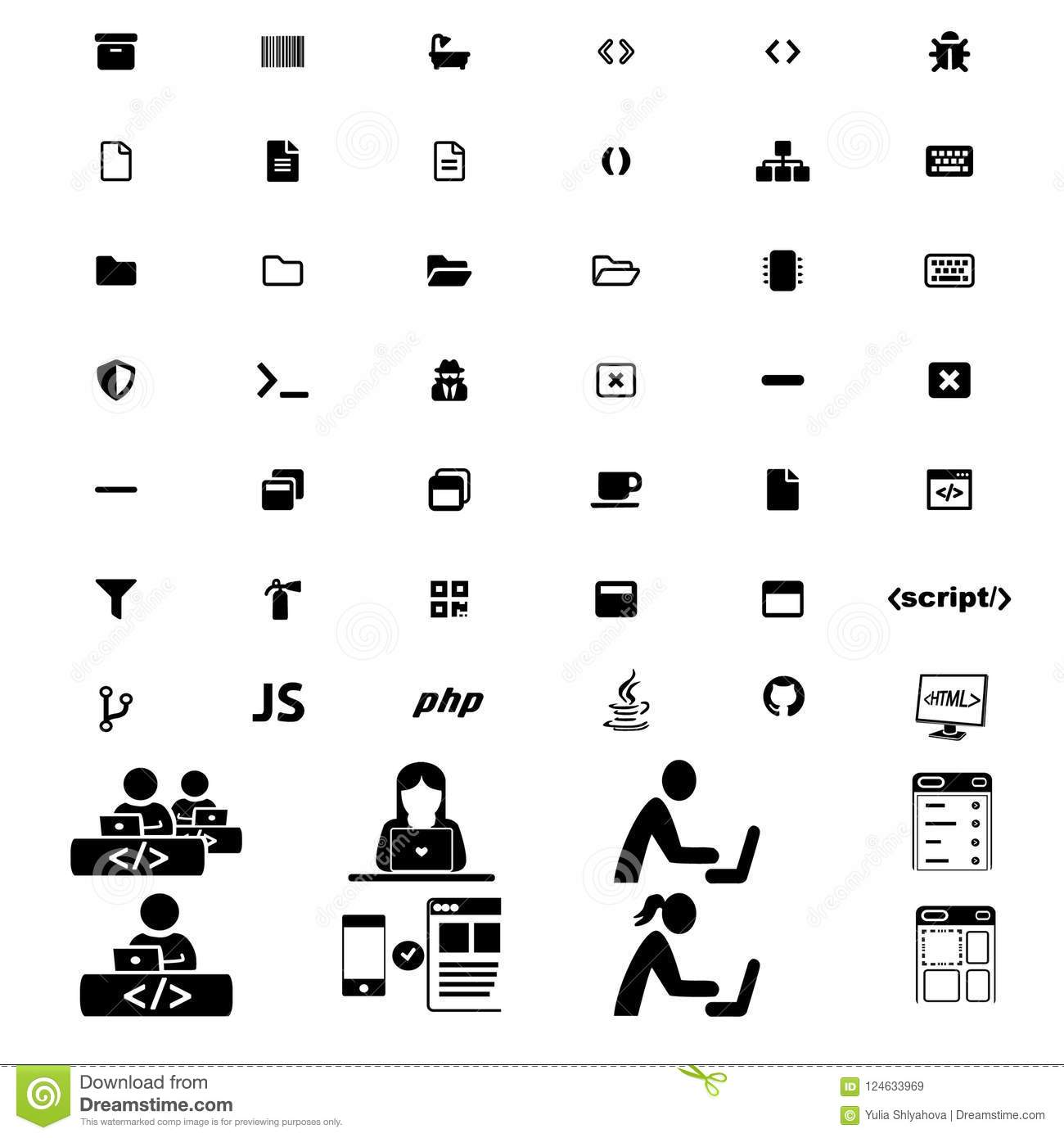 Big modern set of programming icons with people pictograms