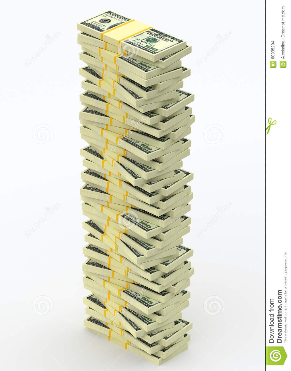 Big money stack from dollars. Finance concepts