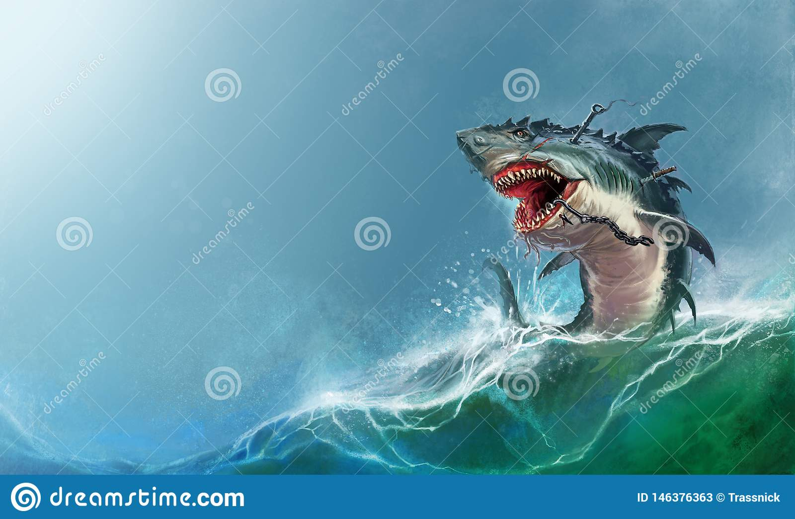 Big Monster Shark Jumping Out Of The Waves Realistic