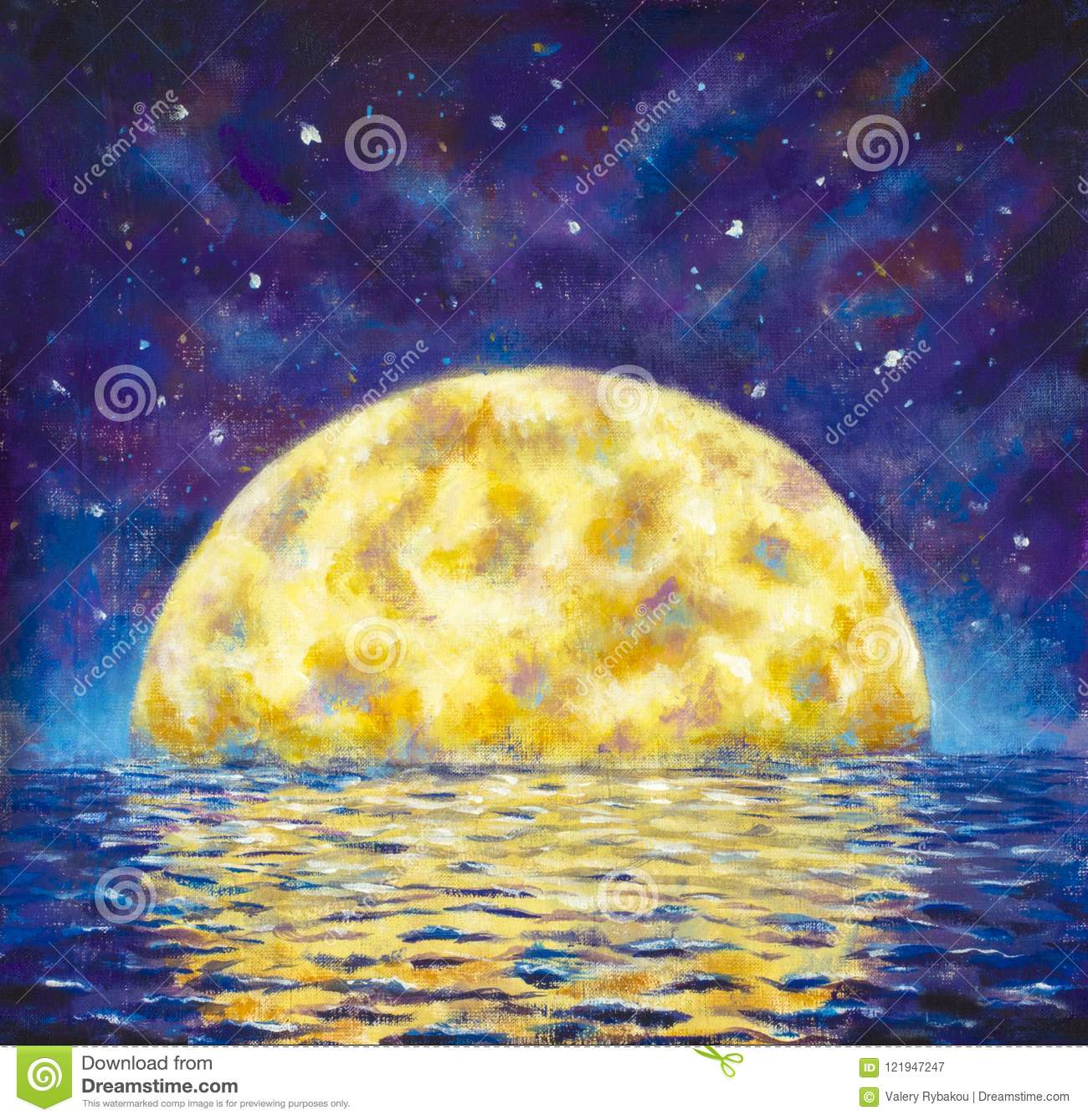 Big moon. Original acrylic painting A large glowing moon is reflected in water, sea, ocean. Night landscape with a big moon on a b