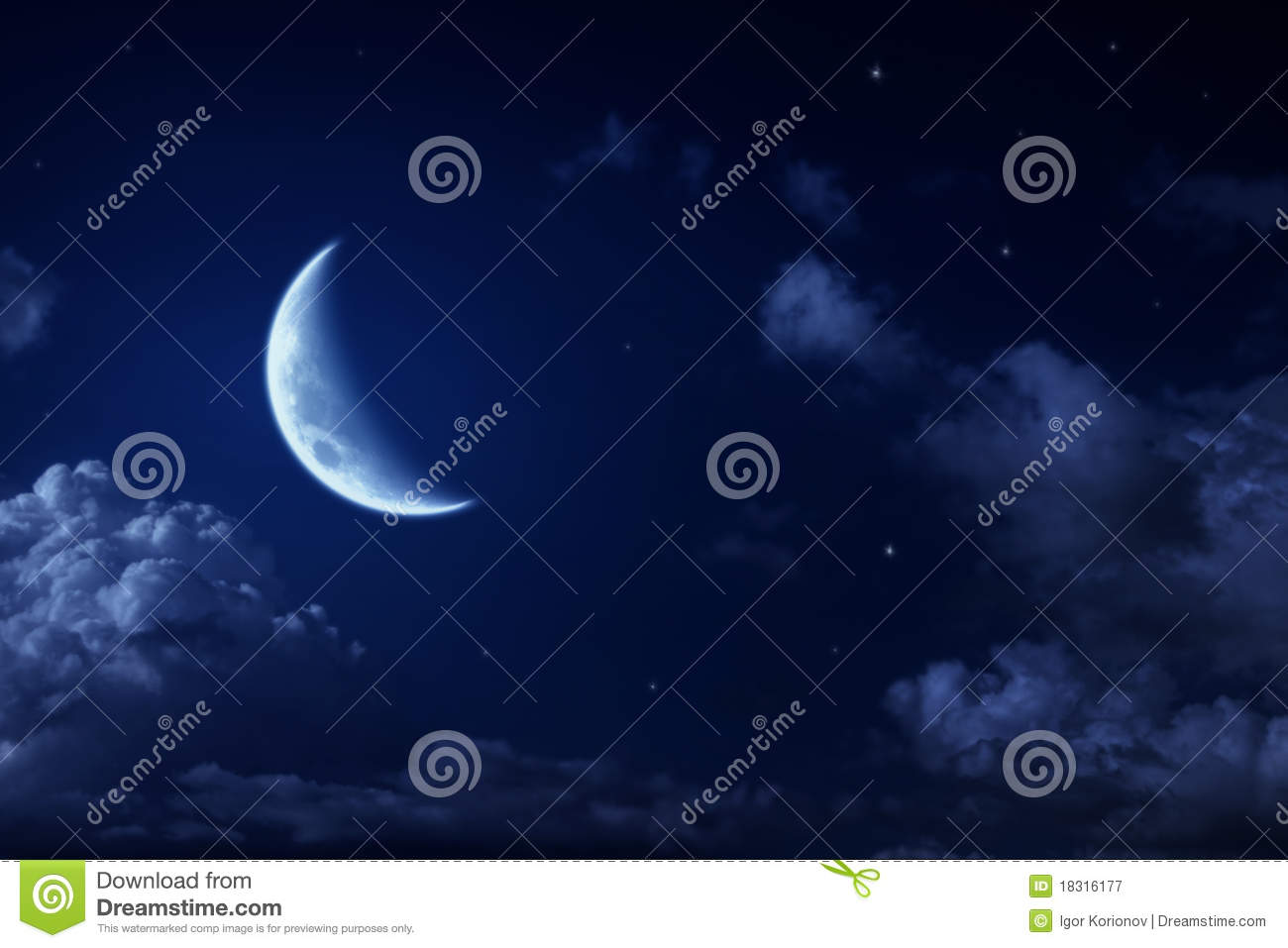 Big moon and stars in a cloudy night blue sky