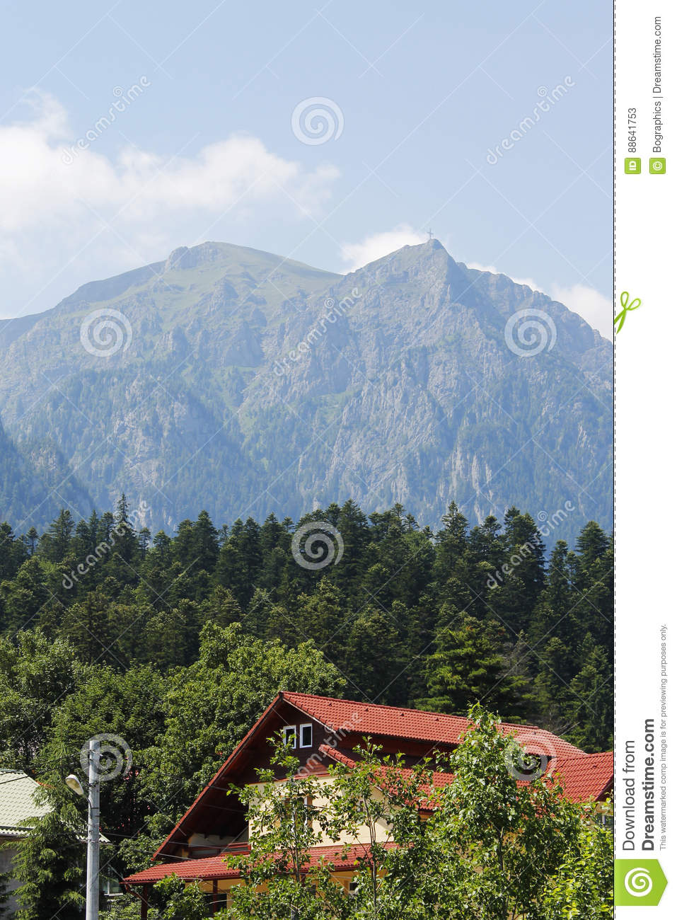 Big mountain with forest and house at bottom