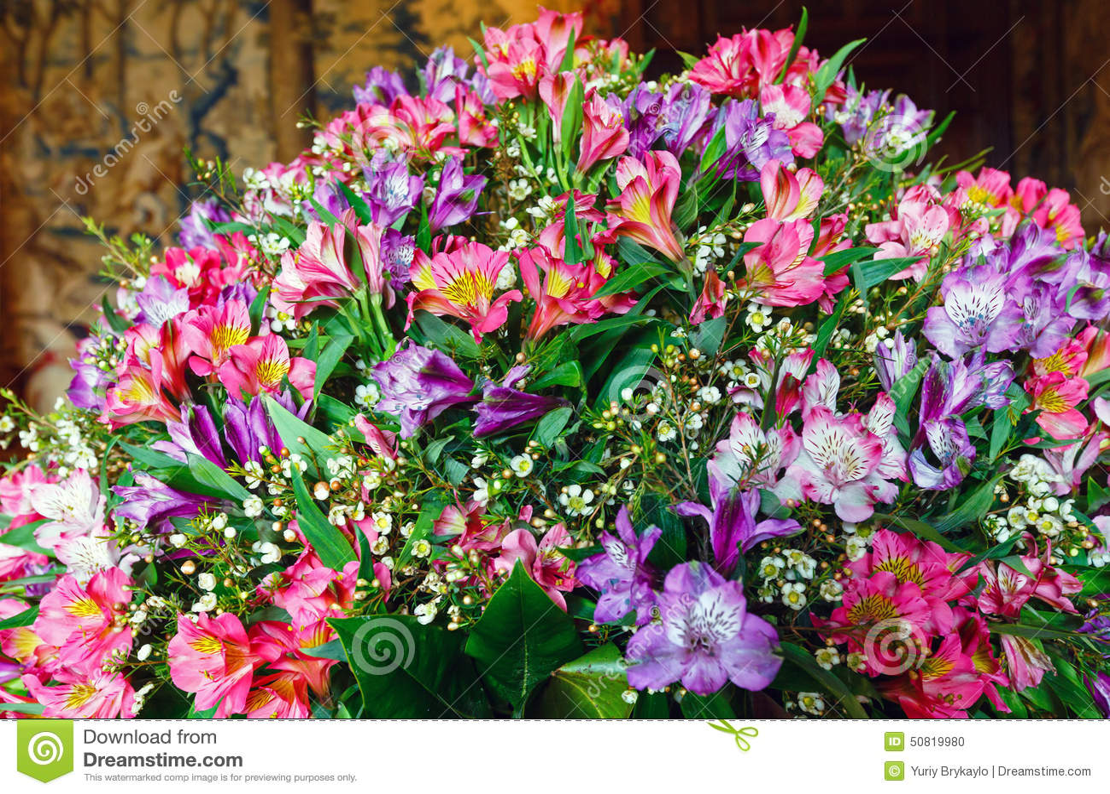 Big multicolor alstroemeria flowers bouquet stock photo for Big bouquets of flowers